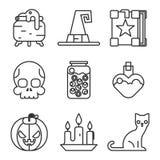 Witch magic halloween icons set isolated flat Royalty Free Stock Image