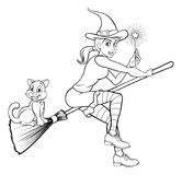 Witch with Magic Wand and Cat on Broomstick Stock Images