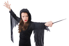 Witch with magic wand isolated Stock Photo