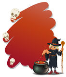 A witch with a magical pot and a cane Stock Photo