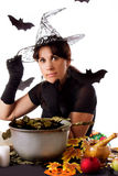 Witch making magic on Halloween Royalty Free Stock Photos