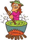 Witch Making Potion Cartoon Royalty Free Stock Photos