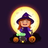 The witch is making a potion for Halloween. Stock Illustration