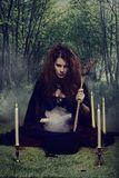 Witch making a potion in her cauldron Royalty Free Stock Photography