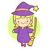 Witch mascot and broom. Work and Job Character Design Series. Stock Images