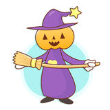 Witch mascot and broom. Work and Job Character Design Series. Royalty Free Stock Image