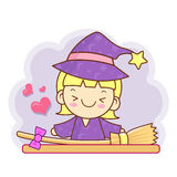 Witch mascot and broom. Work and Job Character Design Series. Royalty Free Stock Images