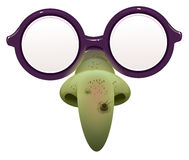 Witch mask for masquerade. Glasses and green nose with wart. Isolated on white vector illustration Stock Photography