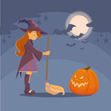 Witch met pumpkin stock illustration