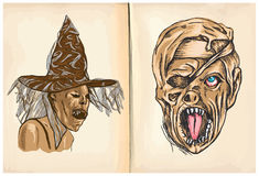 Witch and Monster Mummy - hand drawings, vector Royalty Free Stock Photo