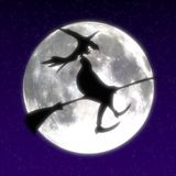 Witch and moon Stock Photo