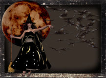 Witch Moon & Bats Background Royalty Free Stock Photo