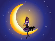 Witch on the Moon Stock Photo