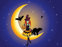 Witch on the Moon Stock Photography