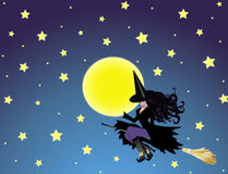 Witch and moon on night sky Stock Photos