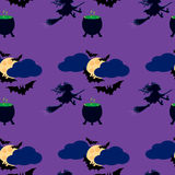 Witch and moon seamless pattern. Illustration of the witch on a broom, cauldron with a potion, flying bats in the sky, full moon in clouds Stock Photography