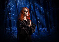 Witch in the moonlight forest Stock Photos