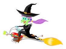 Witch and motor broomstick flying Stock Photos