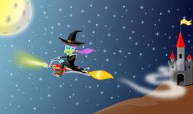 Witch and motor broomstick flying Stock Image
