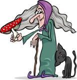 Witch with mushroom cartoon illustration Stock Photo