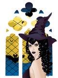 Witch near Gothic Window Stock Photo