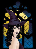 Witch near Gothic Window Royalty Free Stock Photography