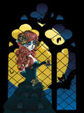 Witch near Gothic Window Stock Images