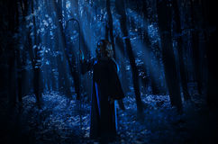 Witch in night forest Royalty Free Stock Images