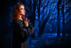 Witch in the night forest Stock Photo
