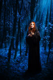 Witch at night forest Royalty Free Stock Photo