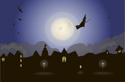 Witch on night sky vector illustration Royalty Free Stock Photography