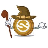 Witch Nxt coin mascot cartoon. Vector illustration Royalty Free Stock Images