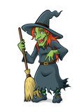 Witch. Old witch are standing holding the broomstick and friendly smile Royalty Free Stock Image