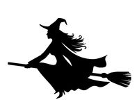 Witch On A Broomstick. Vector Black Silhouette. Royalty Free Stock Photos