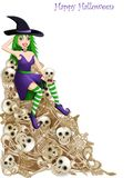 Witch over skeleton bones. On white background Stock Images