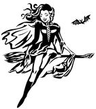 Witch Pin-up. Beautiful girl in a pin up on a broomstick stock illustration
