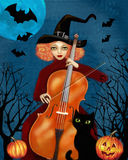 Witch plays the cello. Dark forest. Flying bats, pumpkins, cat. Stock Photo