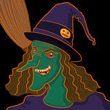 Witch portrait. On black background for halloween Royalty Free Stock Image