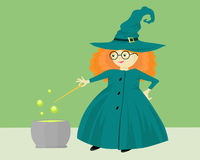 A witch with a pot Royalty Free Stock Photo