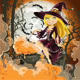 Witch with potion in the pot sits in the cemetery Stock Images