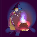Witch with potion in the pot Stock Photos