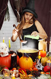 Witch pours secret ingredient Stock Images
