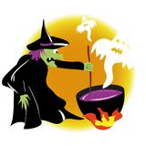 Witch is practising witchcraft. With ghosts Stock Image