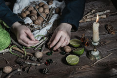 Witch preparing potion Royalty Free Stock Photos
