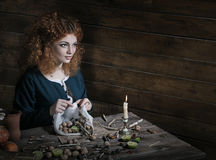 Witch preparing potion Stock Images