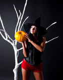 Witch with a pumpkin Royalty Free Stock Images