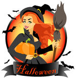 Witch with pumpkin and broomstick Royalty Free Stock Images
