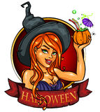 Witch with pumpkin cocktail, label Stock Photo