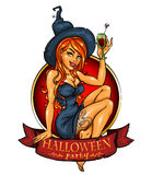 Witch with pumpkin cocktail, label Stock Image