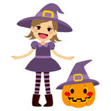 Witch and Pumpkin Royalty Free Stock Images